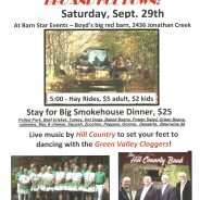 Hoe Down, Hay Ride & BIG Smokehouse Dinner Saturday, Sept 29th, 2018!